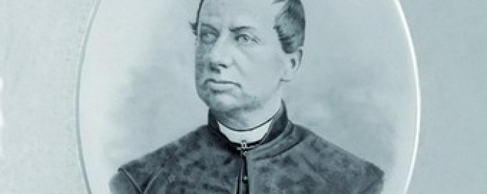 ThDr. Augustin Svoboda - Děkan počátecký, budovatel a dobrodinec tohoto ústavu, narozen 12.12.1812, zemřel 8.5.1880.